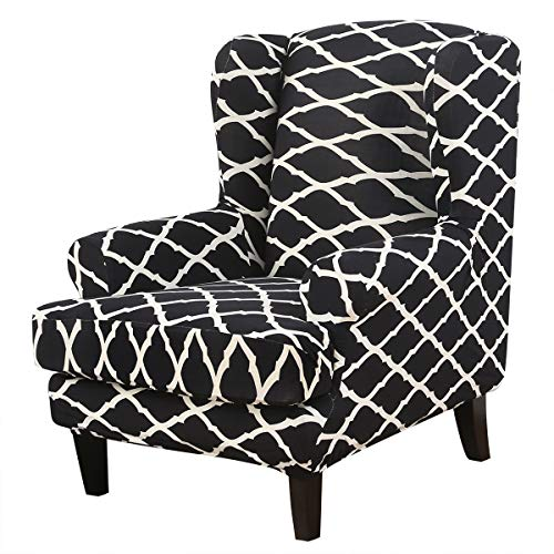 Wingback Chair Cover, 2-Piece Stretch Spandex Wingback Chair Slipcover with Arms for Wingback Chairs,Wing Chair T Cushion Slipcovers Furniture Protector for Living Room (Color #580)
