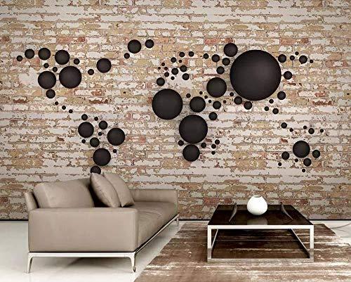 Papel tapiz fotográfico 3D Retro Bola de pared de ladrillo Mapa del...