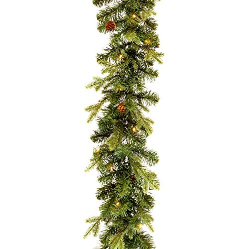 NOMA 9 Ft Pre-Lit Garland | Pine Christmas Garland with Lights & Mini Pinecones | 50 Warm White Battery Operated LED Bulbs | Indoor Christmas Decoration