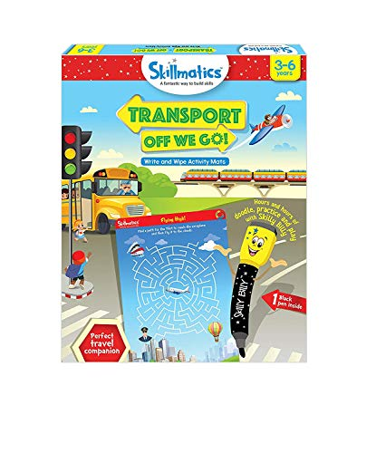 Skillmatics Educational Game: Transport Off We Go (3-6 Years)| Erasable and Reusable Activity Mats, Travel Friendly Toy with Dry Erase Marker, Learning tools for Kids 3, ...