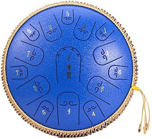 Tambor de lengua de acero tambor de acero de mano Instrumentos de percusión del tambor Lotu, 15 Notas 14 pulgadas lengua tambor de acero Handpan tambor tanque Mini Drum Drum etéreo Fácil aprender con