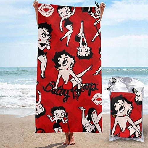ZHKERYNA Toalla De Playa De Secado Rápido para Niños, Adolescentes Y Adultos Betty Boop Cartoon Microfibra Toallas De Microfibra Grandes Super Planas Cómodas Y Plegables Manta De 31.5'x63