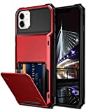Vofolen Compatible with iPhone 12 Case 5G Wallet 4-Card Slot Credit Card Holder Flip Hidden Pocket Dual Layer Protective Back Cover Compatible with iPhone 12/12 Pro 5G 6.1inch Red