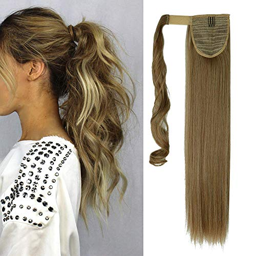 Elailite Extension Coda Capelli di Cavallo Clip in Hair Ponytail Wrap Around Capelli Lisci 58cm 120g - Marrone Cenere mix Biondo Chiarissimo