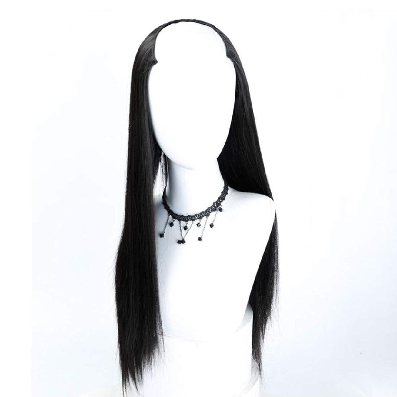 マニュアルに付ける推進力Summerys U字型かつら、長いストレートヘア見えないシームレスなヘッドギア合成色かつら (Color : Black)