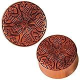 Chic netto Plug organico Incisione xilografica marrone motivo floreale tribale Expand 25 mm