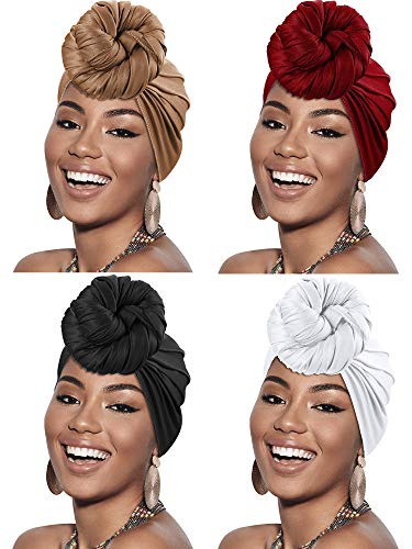 4 Pieces Head Scarf Turban Long Hair Head Wrap Scarf Soft Stretch Headwrap Headband Solid Color Turban Tie (Brown, Red, Black, White)