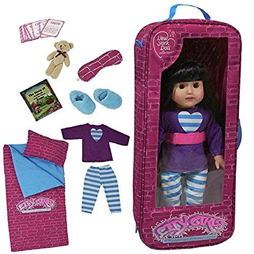 The New York Doll Collection Fiesta de Pijamas Lecho Viaje Bolso Uno Trozo Conjunto Con 9 Accesorios Encaja 18 Pulgadas / 46 cm American Girl Doll - Muñeca Viaje Caso - Muñeca Juego de Juego