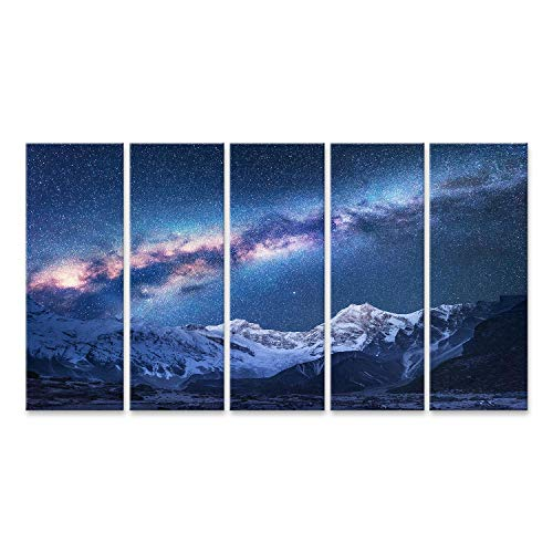 islandburner Cuadro en Lienzo La Vía Láctea Espacial y Las montañas Vista fantástica con Las montañas y el Cielo Estrellado por la Noche en Mountai, Nepal Cuadros Modernos Decoracion Impresión Salon