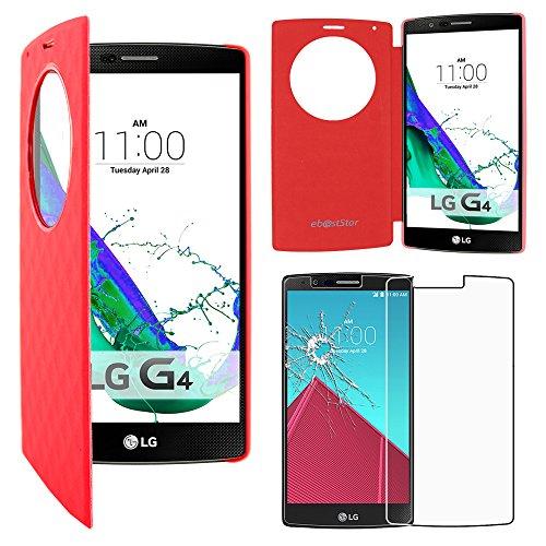 ebestStar - Funda Compatible con LG G4 H815, G4 Dual-LTE Carcasa Billetera Ventana Vista View, Cuero PU Anti choques Case Cover, Rojo +Cristal Templado Pantalla [Aparato: 149 x 76.2 x 9.8mm, 5.5'']
