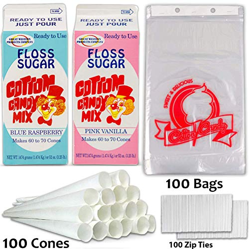 """Cotton Candy Supplies Includes Cotton Candy Sugar Floss – Blue Raspberry and Pink Vanilla Flavor (3.25lb.), 100 Paper Cones, 100 Plastic Bags (11"""" x 18"""") W/Zip Ties, Great For Cotton Candy Machine."""