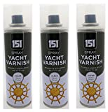 Pack of 3 - Spray Yacht Varnish (250ml) - Clear Gloss Finish - Durable and Quick Drying - Swan household ®