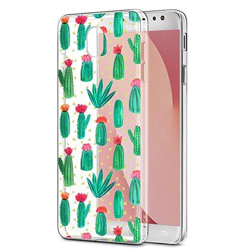Eouine Funda Samsung Galaxy J7 2017, Cárcasa Silicona 3D Transparente con Dibujos Diseño Suave Gel TPU [Antigolpes] de Protector Bumper Case Cover Fundas para Movil Samsung Galaxy J7 2017 (Cactus)