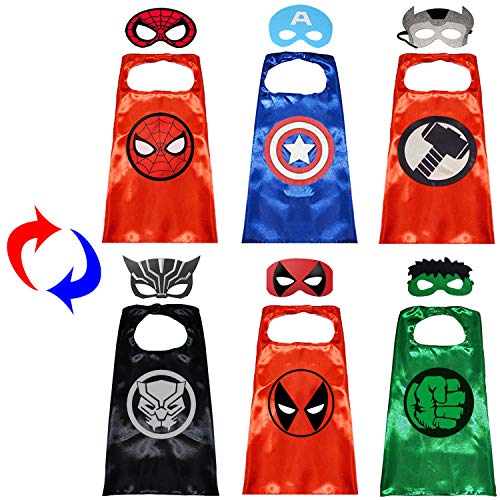 Superhero Capes with Masks Double Side Dress up Costumes Festival Christmas Halloween Cosplay Birthday Party Favors for Kids (Double Side 3 Sets)