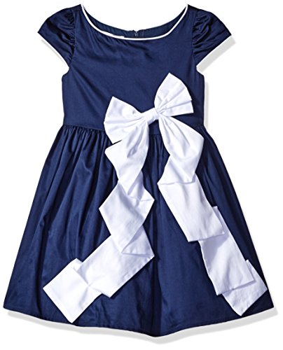 Biscotti Little Girls Rose Reflection Navy dress with White Bow, Navy/White, 2T