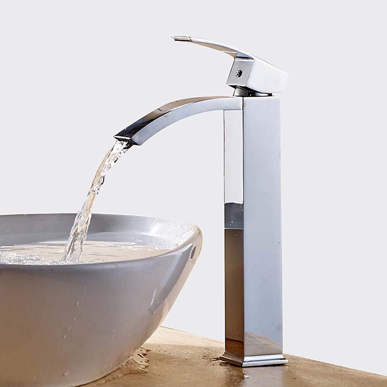 Fire wolf Bathroom faucet:Bathroom Sink Faucet - Waterfall Widespread Chrome Centerset Single Handle One Hole Brass,1