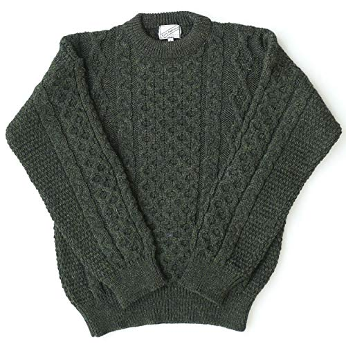 Aran Wool Sweater Men's and Women's Cable Knit Green Crew Neck 100% Lambswool Made in Ireland Small
