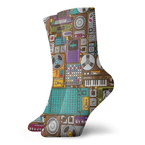 Drempad Calcetines de Vestir Unisex Retro Music Devices Pattern Funny Polyester Crew Socks 11.8 Inch