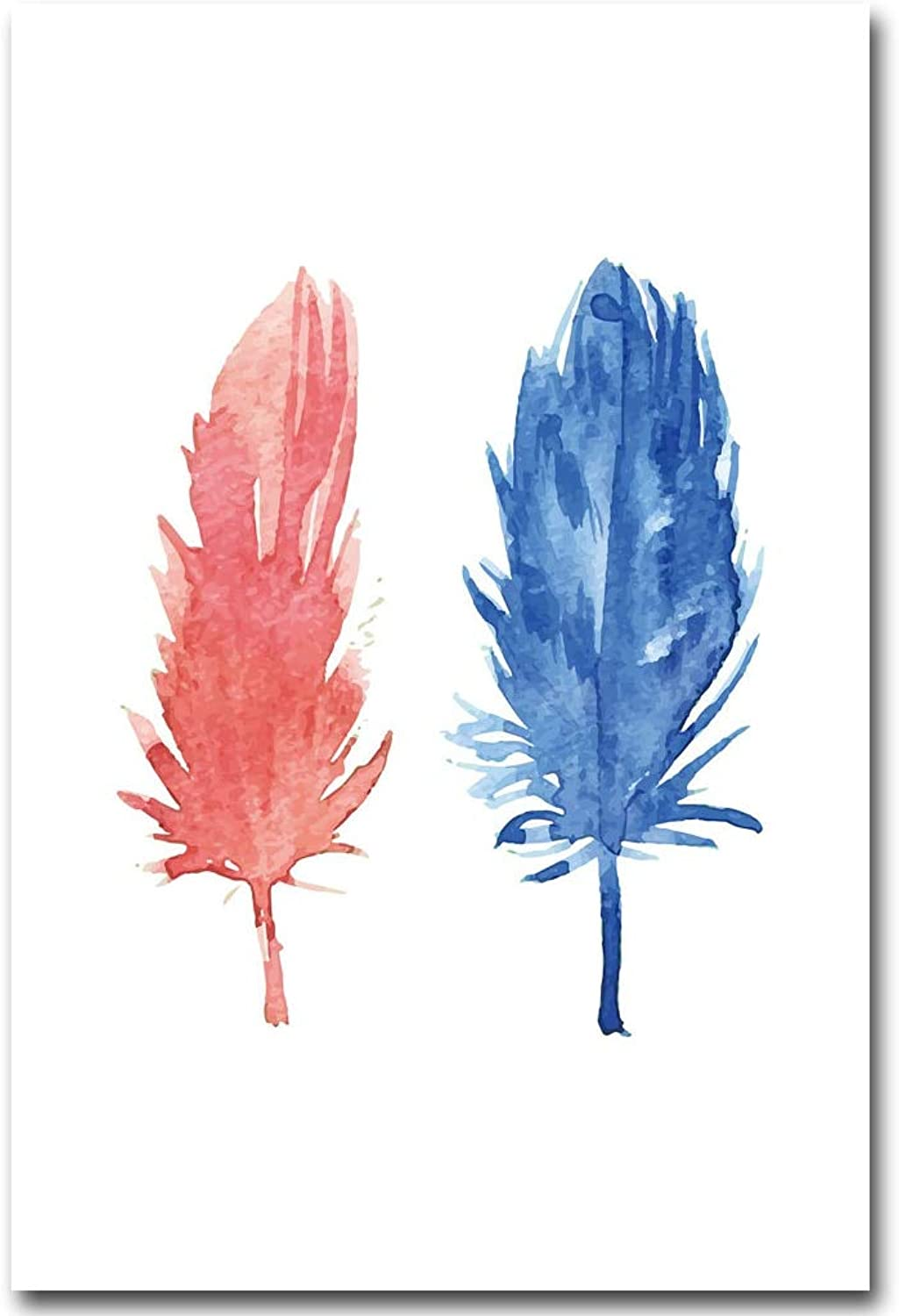 LIEFENGDAO WaterColor Feather Art Canvas Poster Painting Abstract Wall Picture For Home Living Room Decoration,70X100Cm No Frame,Picture 1