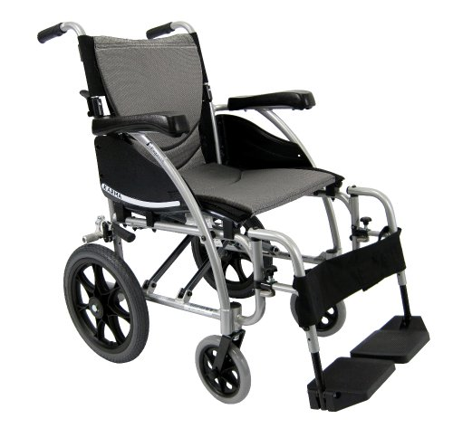 Karman Healthcare S-115-TP Ergonomic Ultra Lightweight Manual Wheelchair, Pearl Silver, 16' Seat Width