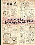 Vintage Red Ephemera Labels 1887: Vintage Labels Ephemera Series