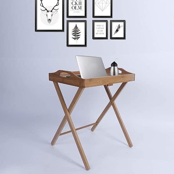 亨夫折叠餐桌便携式食物托盘书桌笔记本电脑落地立式厨房餐桌家具晚餐派对野餐野营室内室外木质颜色