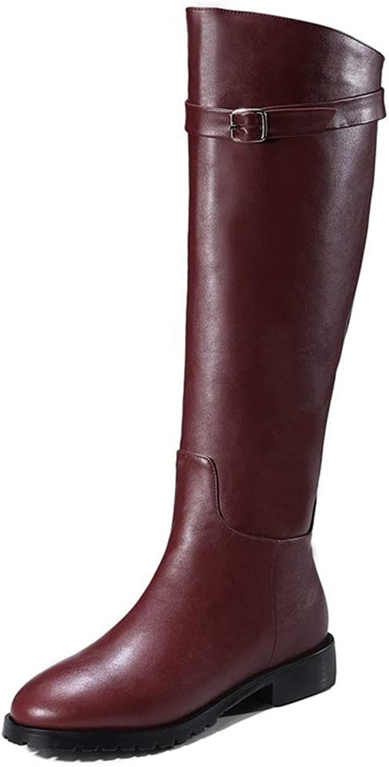 Women's New PU Leather Low Square Heel Metal Decoration Round Toe Large Size Concise Knee-high Boots