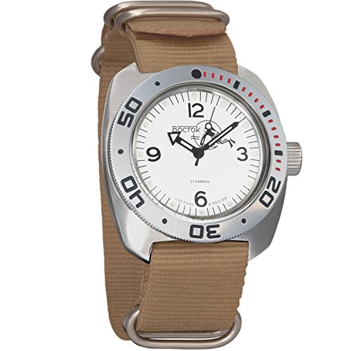 Vostok Mens Reloj de Pulsera de Buceo Dude de Anfibios automático Self-Winding Militar Buceo Anfibios Ministerio Caso Reloj de Pulsera # 710920