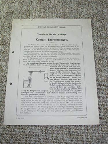Vorschrift für die Montage des Kontakt-Thermometers.