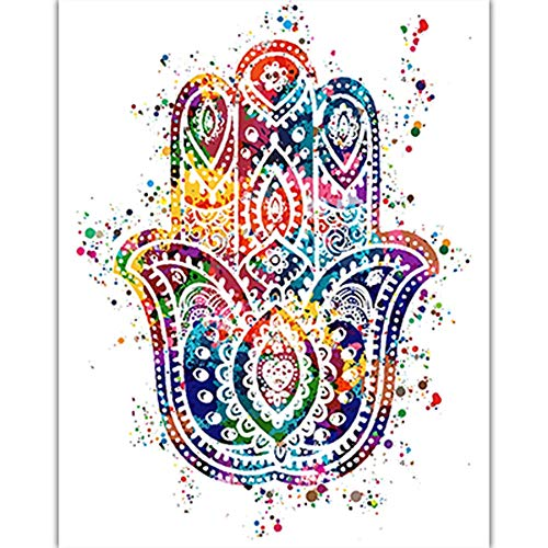 HNZKly Yoga Fátima Meditación De la Lona Colorido Arte Respirar Mano De Fátima Lotus Tai Chi Murales Pinturas Dormitorio Inicio Gimnasio Pared Cuadro 40x50cm / Sin Marco-6 Art