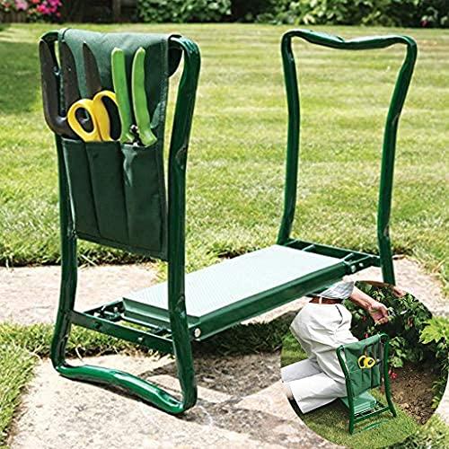 QHW Taburete de Rodillas para Trabajo en el jardín, Rodillera de jardín, fácil de Transportar y Plegar, con Bolsa de Herramientas, Ayuda a aliviar el Dolor de Espalda y piernas