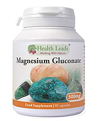 Magnesium Gluconate 500mg x 90 capsules (100% Additive Free) by Health Leads UK