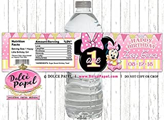 10 Pink and Yellow MINNIE MOUSE 1st Birthday Party Polka Dot and Stripes Water Bottle Labels - Peel-n-Stick