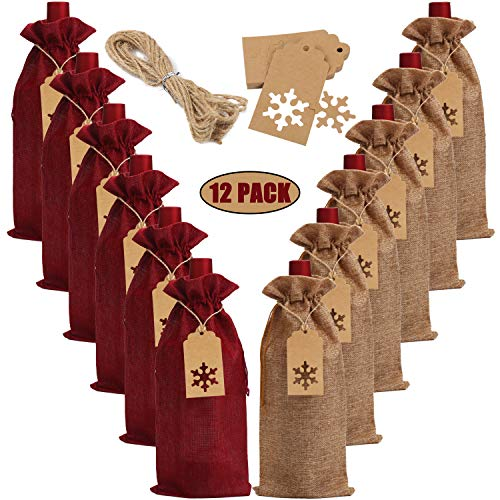 LOKIPA Burlap Wine Gift Bags, 12 Pcs Jute Wine Bottle Bags with Drawstring, Reusable Wine Bottle Covers with Ropes and Snowflake Tags for Christmas