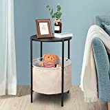 Fabric Basket End Table, Top Round Wooden Side Table with Storage, Metal Frame Accent Furniture Nursery Bedroom Nightstand, 15.75in Diameter Coffee Snack Table(23.6in. H) (Black)