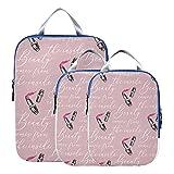 Cubos de embalaje de viaje Maquillaje hermoso Lápiz labial de colores para niña Compresión Cubos de embalaje de viaje Cubos de embalaje expandibles Organizador de viaje para equipaje de mano, viaje (
