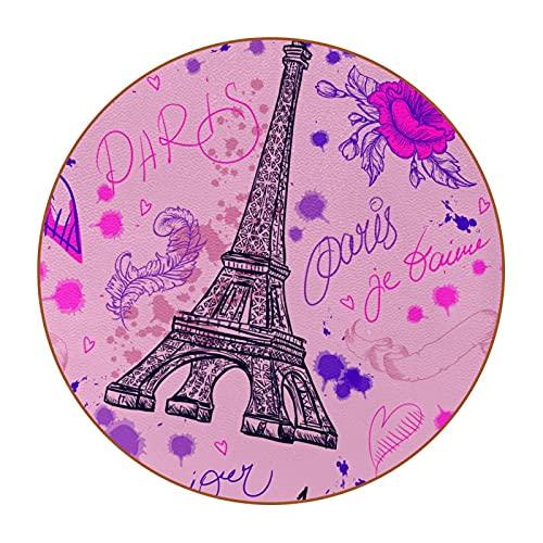 Sottobicchieri Antiscivolo Cartolina della Torre Eiffel Set di 6, Mug Cup Coasters Drinks, per Piattini Vetro Tazza Ufficio Scrivania Bar,Moderni Design (Rotondi) 11cm