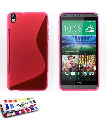 Ultraflache weiche Schutzhülle HTC DESIRE 816 [Le S Premium] [Rosa] von MUZZANO + STIFT und MICROFASERTUCH MUZZANO® GRATIS - Das ULTIMATIVE, ELEGANTE UND LANGLEBIGE Schutz-Case für Ihr HTC DESIRE 816