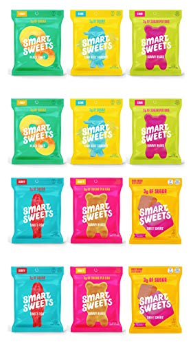 Smart Sweets 6 Flavors Variety Pack, Candy With Low-Sugar (3g) & Low Calorie (80), All Flavors, Peach, Chews, Sweet Fish, Sour Buddies, Sour Bears ,Fruity Bears (12 Pack)