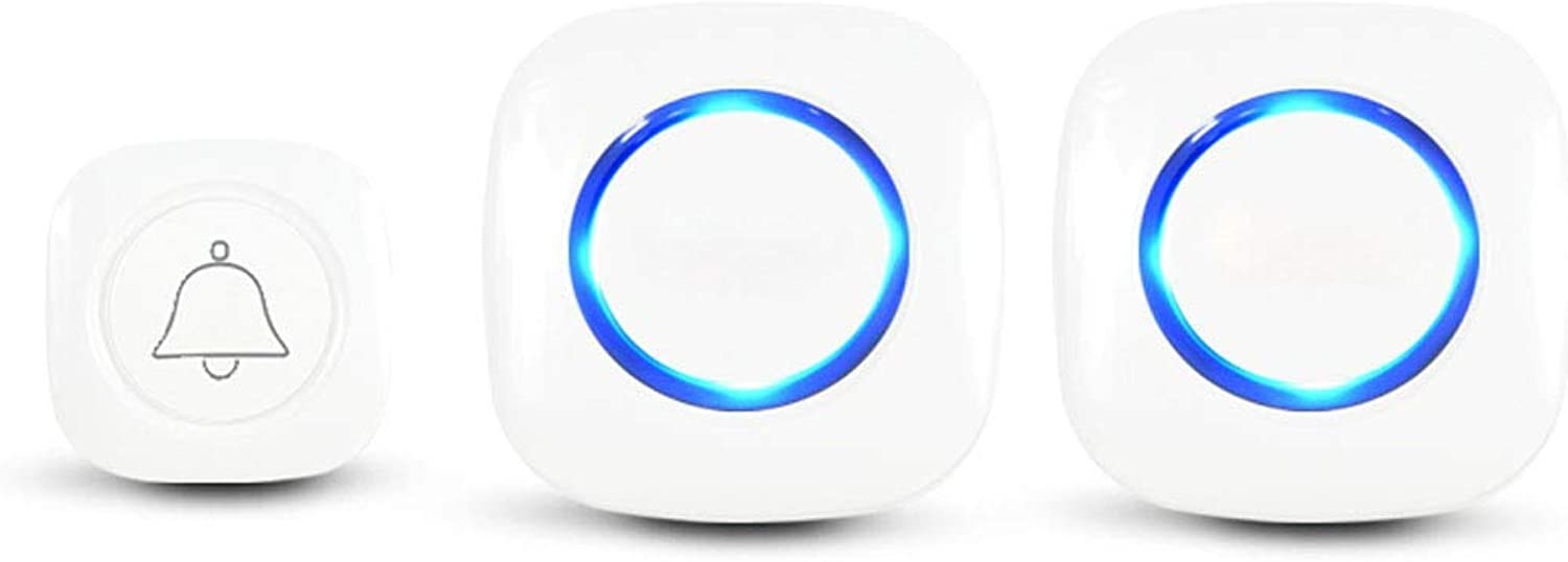 Doorbell, Wireless Doorbell for Elderly Families, Old Caller (White, with Light Tips) (Edition   One Drag Two)