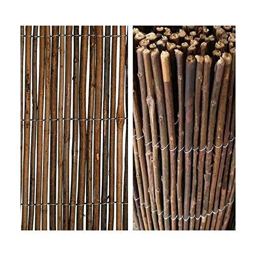 Z&Q BROS LTD Rollo de valla de mimbre natural para jardín, ideal para paredes y balcones, 1 m x 3 m, color marrón oscuro