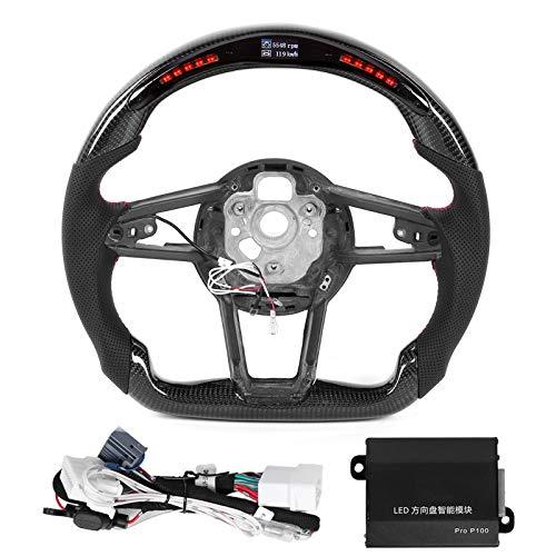 Volante de fibra de carbono, cuero napa perforado, volante de carreras, luces LED de cambio, pantalla apta para R8 4S MK2 2016+ TT TTS TTRS MK3 2015+
