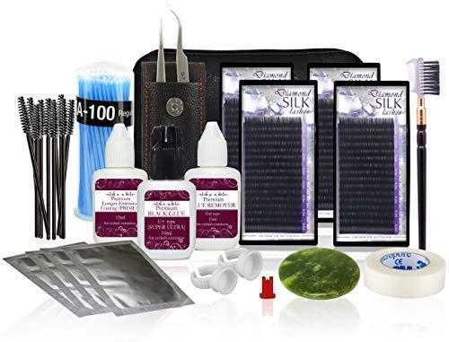 Premium Extension de cils Kit de départ / Set professionnel - Diamant Soie cil - Lot de 2 : mélange B 0,2 mm & mélange B 0,25 mm