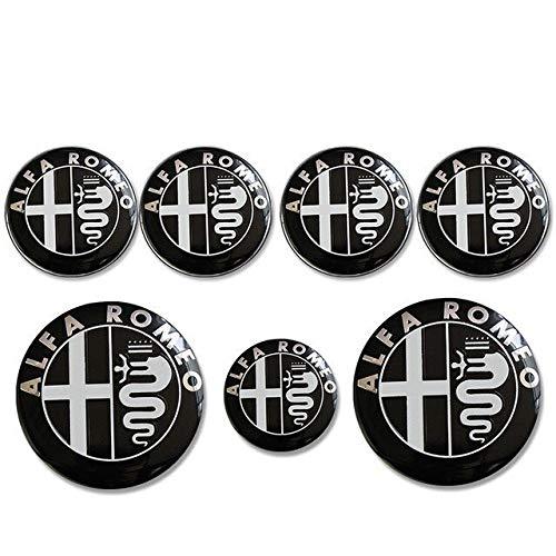xy Tapas para Llantas de Coche 7 unids Compatible con Alfa Romeo Logo 74mm Hood Tronco + Insignia del Volante + 60mm Rueda Centro Cap Emblem Brera 159 SW New Spider Giulietta Emblema (Color : Black)