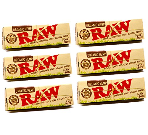 Raw Unrefined Organic 1.25 1 1/4 Size Cigarette Rolling Papers, 50...