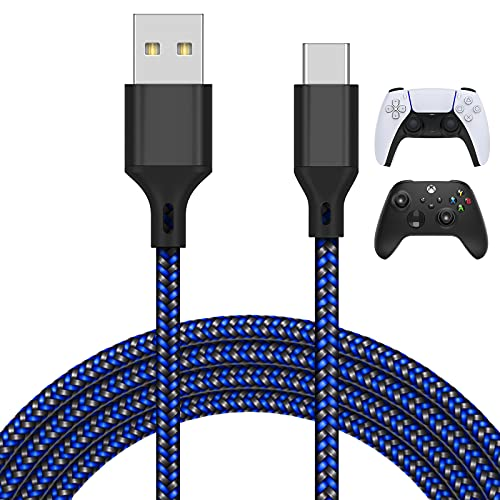 16.4FT Charger Charging Cable for PS5/ for Xbox Series X/S Controller/for Switch Pro Controller, Replacement USB Charging Cord Nylon Braided Type-C Ports Accessories for Playstation 5/for Xbox Series