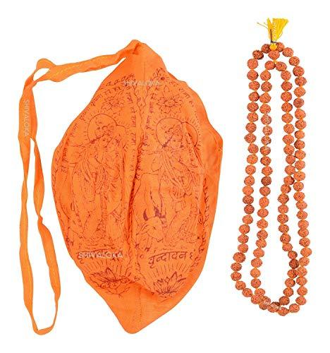 SHIVALOKA Gomukhi Japa Mala Bolsa con 5 Mukhi Rudraksha Japa Mala | 108+1 cuentas | 7,50 mm tamaño de cuentas | para hombres y mujeres | uso regular y japa