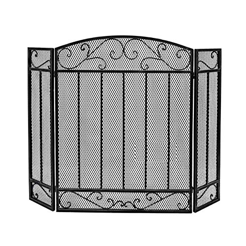 Best Review Of Screen J-Fireplace Heavy-Duty Fireplace, 3 Panel Wrought Iron Spark Guard Cover, Home...