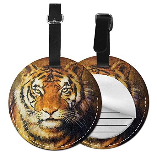 Etiquetas para equipaje Pintura al óleo estilo gato grande ojos propósito carnívoro bengala felino de Oriente, etiqueta de equipaje de cuero Etiqueta de privacidad (1 pieza)