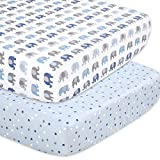 The Peanutshell Elephant Fitted Crib Sheet Set for Baby Boys or Girls, 2 Pack Unisex Set
